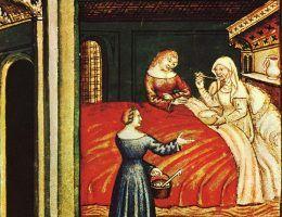 """Ilustracja XIV-wiecznego wydania podręcznika zdrowego stylu życia """"Tacuinum Sanitatis""""."""
