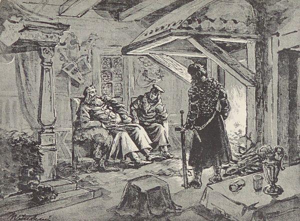 XIX-wieczne wyobrażenie Bolesława Chrobrego, planującego kolejne podboje.