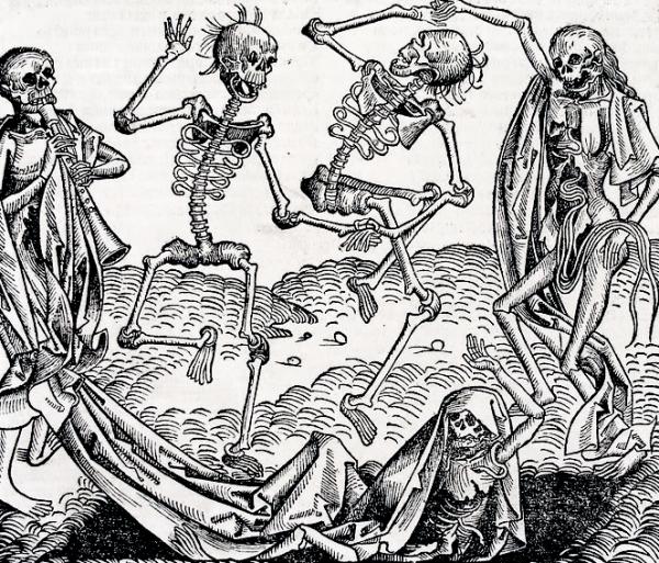 """Ze względu na dziesiątkujące ludzi epidemie, motyw """"tańca śmierci"""" był niezwykle popularny w sztuce średniowiecza."""