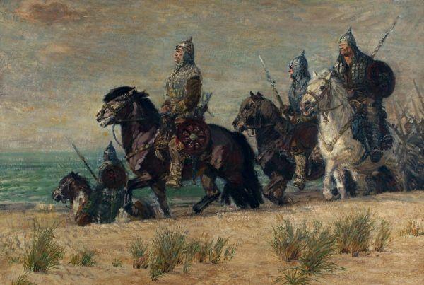 """Chrobry dbał o swoich wojów, w zamian wymagał jednak absolutnej lojalności. Na ilustracji obraz Michała Byliny pod tytułem """"Bolesławowa drużyna""""."""