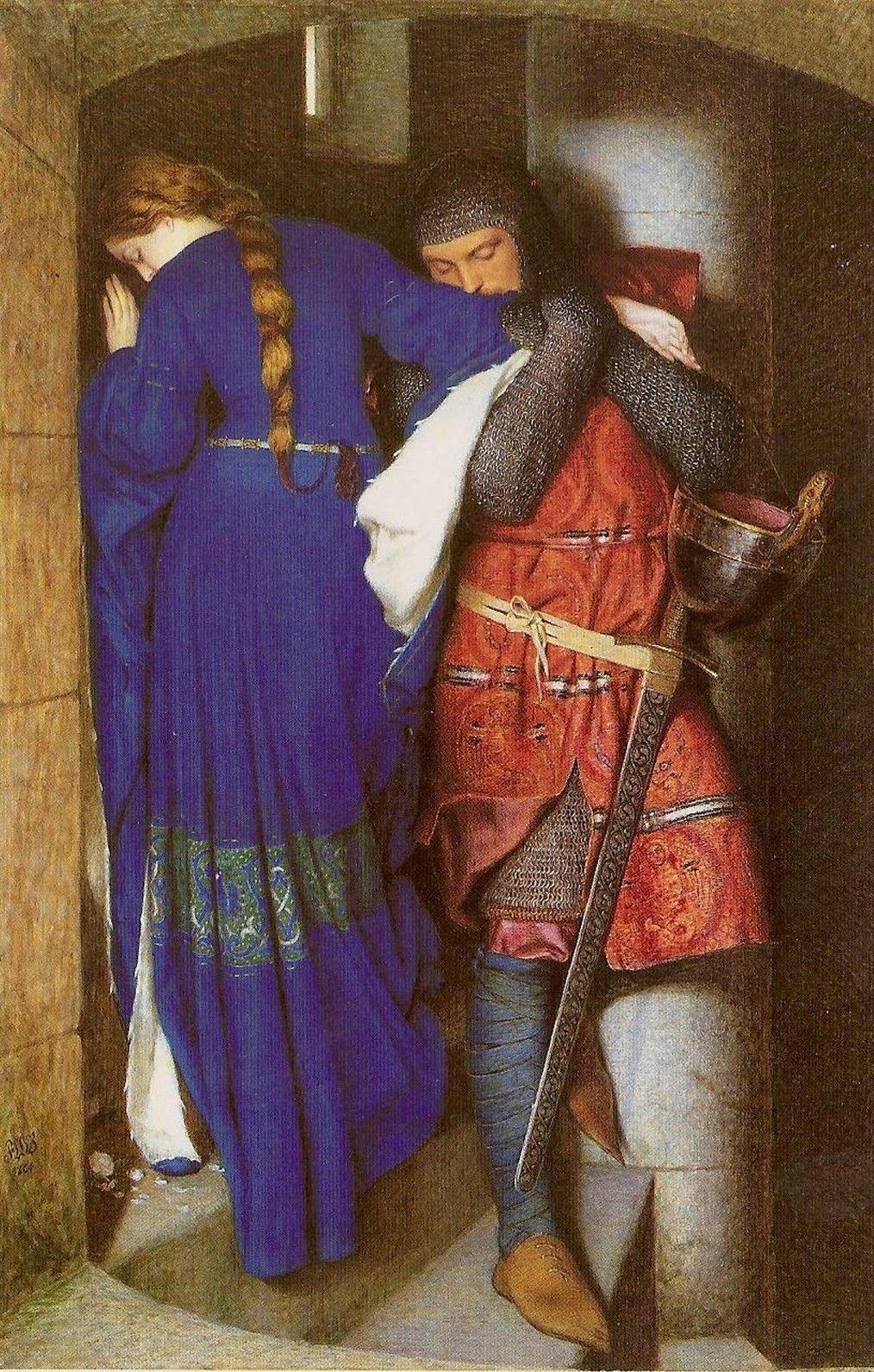 """Merlin ostrzegał Artura, że """"biała uwodzicielka"""" zdradzi go z najlepszym z jego rycerzy. Obraz Fredericka Williama Burtona """"Hellelil i Hildebrand, spotkanie na schodach wieży"""", 1864 r."""