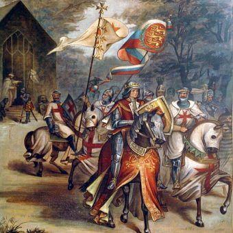 XIX-wieczne wyobrażenie Templariuszy.