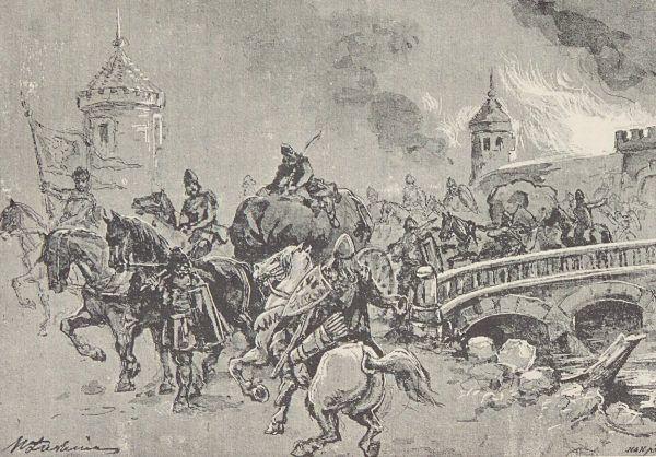 Chrobry był mistrzem forteli. Potrafił zaskoczyć wroga w najmniej oczekiwanym dla niego momencie. Na ilustracji XIX-wieczne wyobrażenie drużyny Chrobrego w akcji.