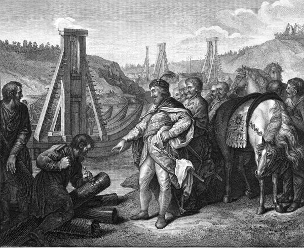 Chrobry od początku swoich rządów prowadził agresywną ekspansję. Powyżej XIX-wieczna ilustracja przedstawiająca wbijanie słupów granicznych na Soławie.