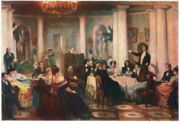Grigorij Miasojedow uwiecznił na obrazie polskiego poetę podczas jednego z improwizatorskich natchnień. Przeżywać je miał Mickiewicz pod koniec życia głównie za sprawą Xawery Deybel, która następnie skłóciła go z braćmi w Kole.
