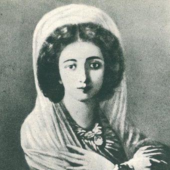 Dwudziestoletnia Zofia Glavani tuż po ślubie z Józefem Wittem. Na portrecie zatem już nie jako kurtyzana, ale żona w dalszym jednak ciągu czarowała mężczyzn swoją urodą.