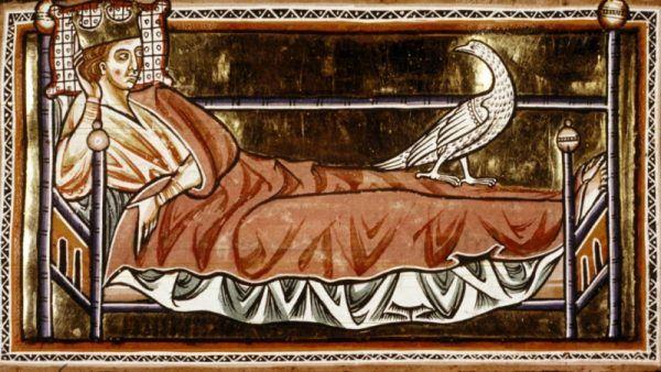 Król w łóżku, lustracja z XIII wieku.