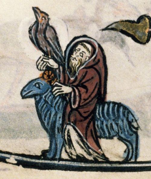 Mnich ujeżdżający owcę. Ilustracja z XIII wieku.