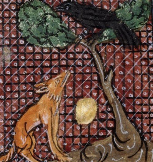 Ser spadający z drzewa. Ilustracja z XIII wieku.