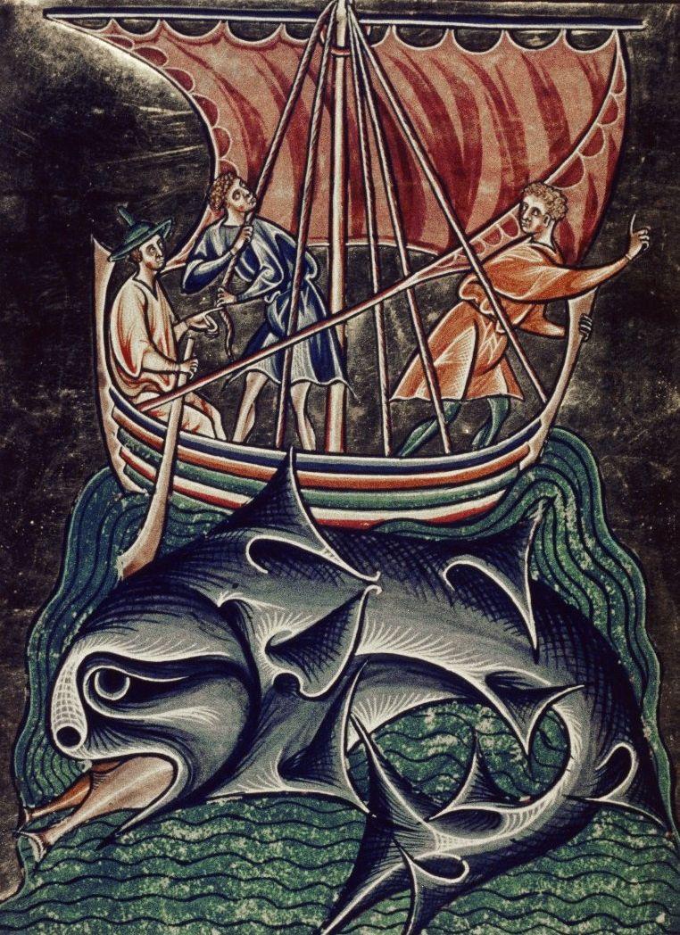 Wieloryb na ilustracji z XIV wieku.