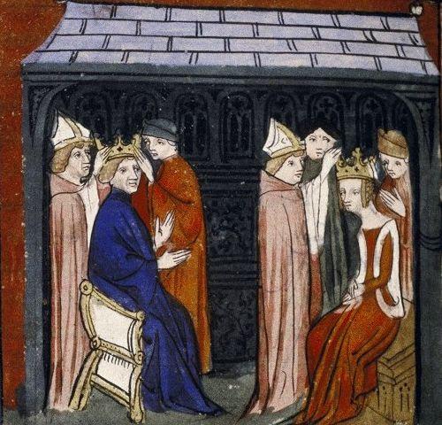 Koronacja króla i królowej na francuskiej miniaturze z XIV wieku.