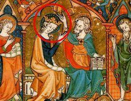 Koronacja Maryi Panny przedstawiona w tzw. psałterzu Oswalda (X wiek).