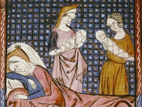 Odpoczynek po porodzie według miniatury z XII wieku.