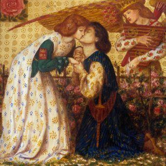 """Średniowieczni kochankowie. Dante Gabriel Rossetti, """"Roman de la Rose"""", 1864 r."""