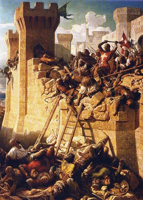 """""""Oblężenie Akry"""". Mistrz zakonu joannitów Mathieu de Clermont broni murów miasta."""