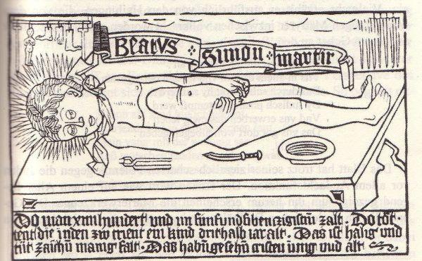 """Ogromny wpływ na rozprzestrzenianie się pogłosek o rytualnych morderstwach Żydów miała legenda o Szymonie z Trydentu, chłopcu zamordowanym w nieznanych okolicznościach. Pod koniec XVI wieku utrwalił ją Piotr Skarga, wspominając o niej w """"Żywotach Świętych"""". Na ilustracji rycina z 1479 roku przedstawiająca rzekomy rytualny mord dokonywany przez wyznawców judaizmu."""