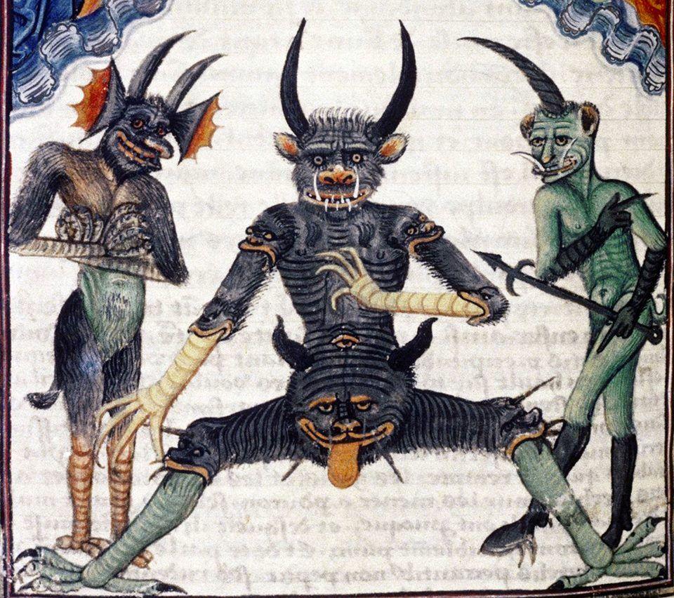 """Ktoś zawsze musi pokazać język. """"Livre de la Vigne nostre Seigneur"""", Francja, ok. 1450 - 1470 r., zbiory Bodleian Library."""