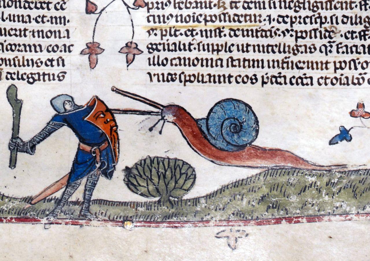 """Na takiego ślimaka tylko z kijem. """"The Smithfield Decretals"""", Francja, ok. 1300 r., iluminacje dodane w Londynie ok. 1340 r."""