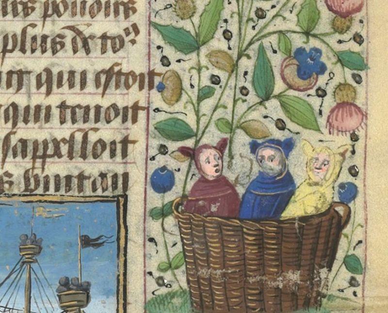 "Średniowieczne Teletubisie z ""Le Livre des hystoires du Mirouer du monde"", Francja, XV wiek."