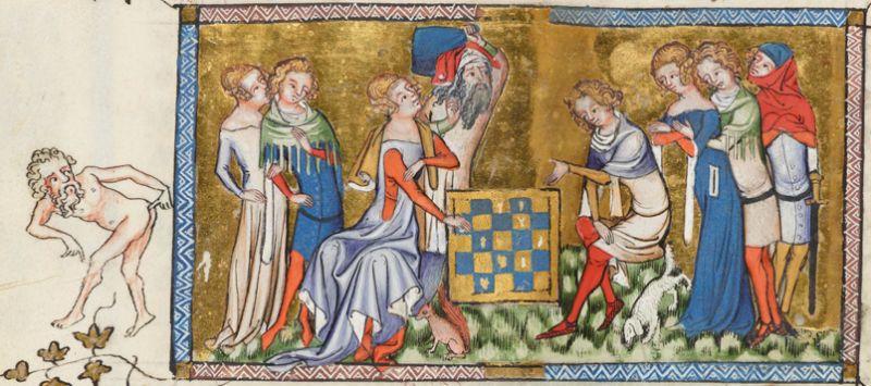 """Pan po lewej pokazuje, ile warta jest taka gra. Jacques de Longuyon, """"Les Voeux des Paon"""", Belgia, ok. 1350 r."""