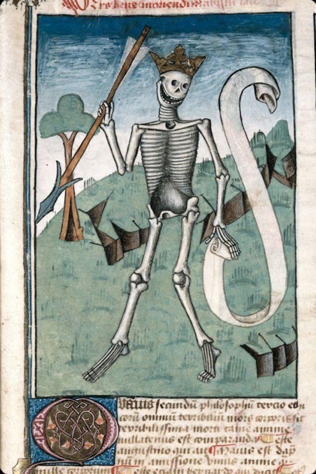 """Uśmiechnij się, lista twoich grzechów wcale nie jest aż tak długa. """"Ars bene moriendi"""", Francja, ok. 1470 - 1480 r."""
