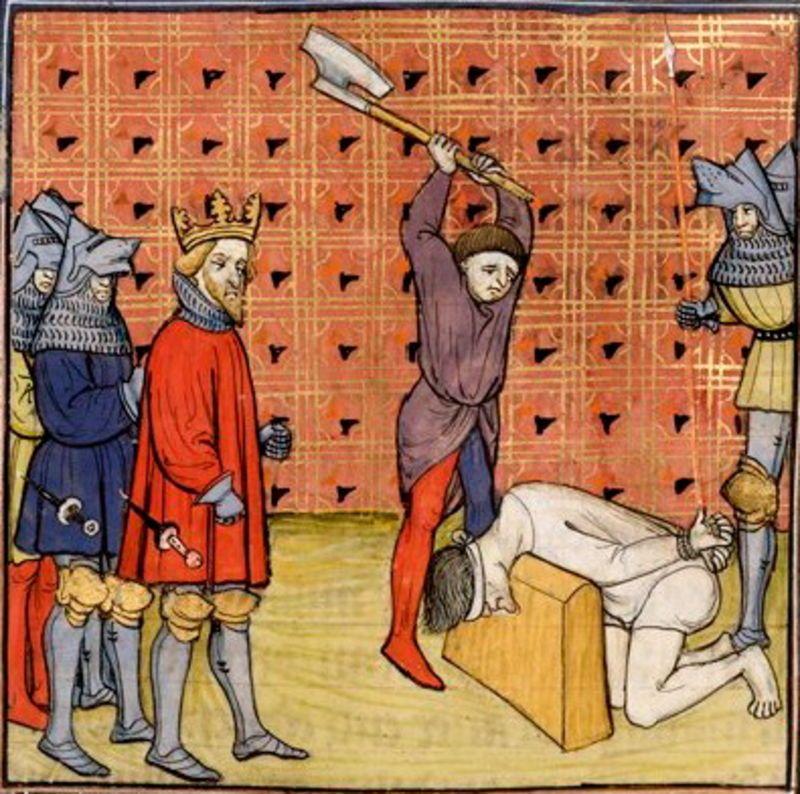 """Profesja kata nie należała może do najprzyjemniejszych, niemniej jednak stanowił on nieodłączny element miejskiej społeczności. Ilustracja z XIV-wiecznego manuskryptu """"Chroniques de France ou de St Denis""""."""