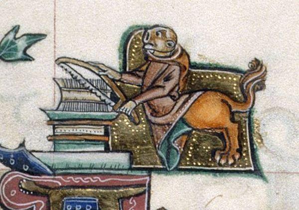 Kiedy następnym razem będziesz wałkować jakąś treść, zastanów się, czy nie lepiej ją przepiłować. Psałterz z Gorleston, ok. 1310 r.