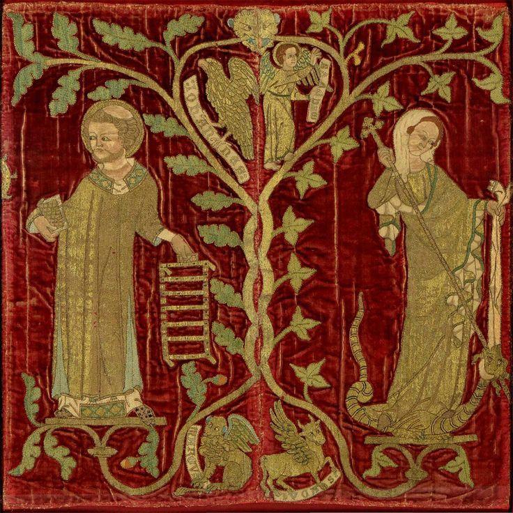 Hafty na szatach angielskich duchownych tak zachwyciły papieża Innocentego IV, że nakazał sprowadzić dla siebie ozdobione nimi tkaniny. Przykład haftu opus anglicanum, ok. 1320-1340 r.