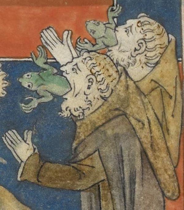 Żaby też nie wiedzą, o co chodzi. Apokalipsa Królowej Marii, Anglia, XIV wiek, zbiory British Library.