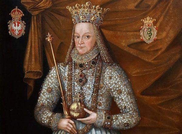 Anna Jagiellonka w stroju koronacyjnym na obrazie Marcina Kobera.