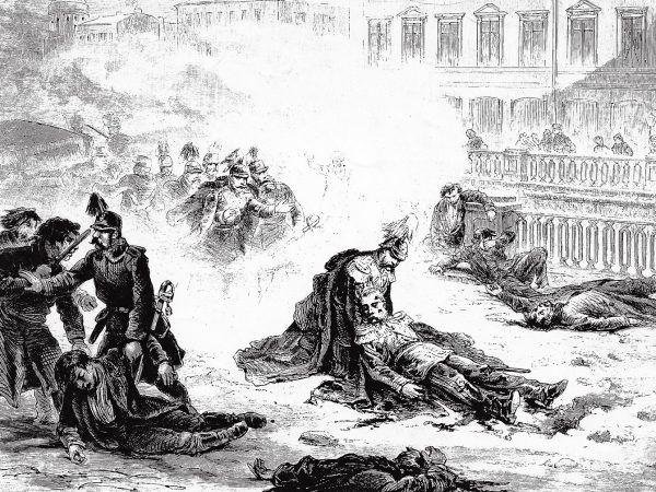 Grafika Gustava Brolinga przedstawiająca siódmy - udany - zamach na Aleksandra II.