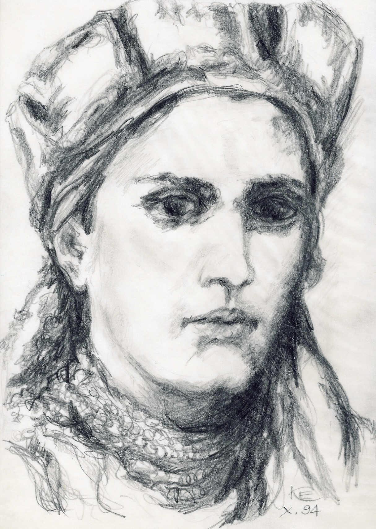 Pretensje do Pragi Chrobry motywował czeskim pochodzeniem swojej matki. Rysunek Dobrawy wykonany przez Edwarda Knapczyka na podstawie portretu Jana Matejki.