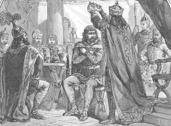 """To w Gnieźnie Chrobry spotkał się w 1000 roku z cesarzem. Ale już kilka lat później pozycja tego miasta jako stolicy stanęła pod znakiem zapytania. Fragment ilustracji Ksawerego Pillatiego, przedstawiający Ottona III nakładającego koronę na skroń polskiego władcy, pochodzącej z książki """"Wizerunki królów i książąt polskich""""."""