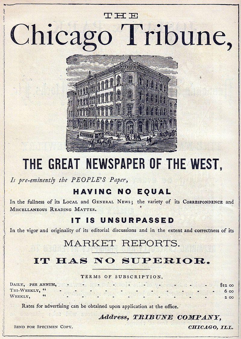 """Założony w 1847 roku """"Chicago Tribune"""" do dziś pozostaje jednym z największych dzienników w Stanach Zjednoczonych. Znalezienie się w latach 30-tych XX wieku na pierwszej stronie gazety oznaczało nie małą sławę. To właśnie tu nadano Collins przydomek """"Kiss of Death Girl"""", czyli """"Pocałunek Śmierci""""."""