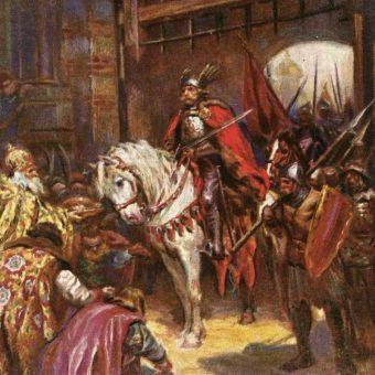 Chrobry wjeżdża do Kijowa. Obraz Konstantego Górskiego.