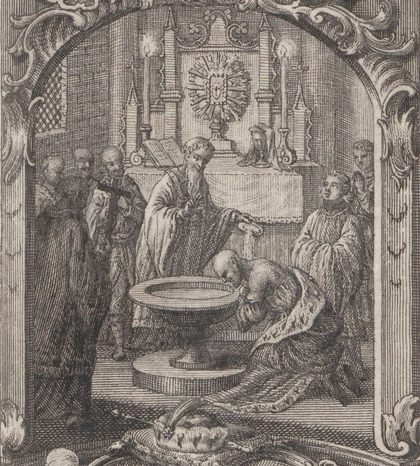 Dla Mieszka chrzest był tylko polityczną koniecznością. Chrobry traktował nową wiarę znacznie poważniej i brutalnie karał tych, którzy nie przestrzegali jej zasad. Na ilustracji XVIII-wiecznie wyobrażenie chrztu Mieszka I.