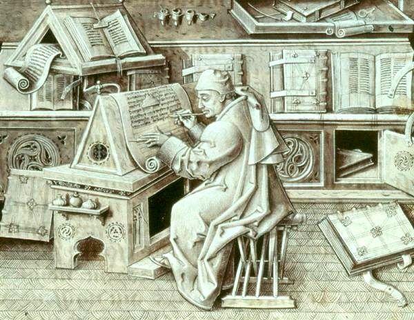 """A może by tak posada pisarza miejskiego? Mógłbyś sobie pozwolić na wołowinę czy wino! Jean Le Tavernier, """"Portret Jeana Miélota"""", po 1456 r."""