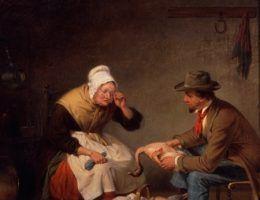 """Nie tylko skubiąc indyka można snuć opowieści... Na ilustracji obraz Francisa W. Edmondsa z 1858 roku """"Targi"""", znany później jako """"Świąteczny indyk""""."""