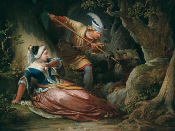 Na tym obrazie Franza Geylinga z 1856 roku Ernest ratuje Cymbarkę przed niedźwiedziem. W rzeczywistości raczej byłoby na odwrót...