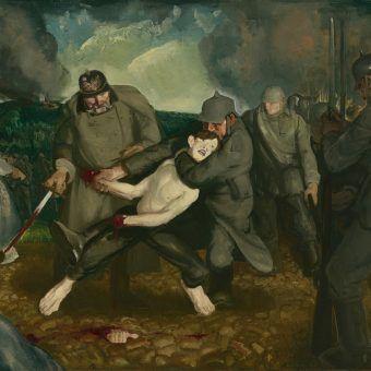 """Niemcy od samego początku dopuszczali się zbrodni w Belgii. Na ilustracji fragment obrazu Georga Wesleya Bellowsa """"Niemcy przybywają""""."""