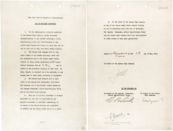 Akt kapitulacji Niemiec, 7 maja 1945 roku.