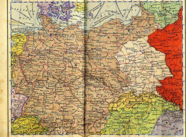 Generalne Gubernatorstwo na radzieckiej mapie z 1940 roku, przedstawiającej III Rzeszę.