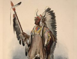 Czy korona z piór Chrobrego też była tak okazała? Na ilustracji rysunek Karla Bodmera.