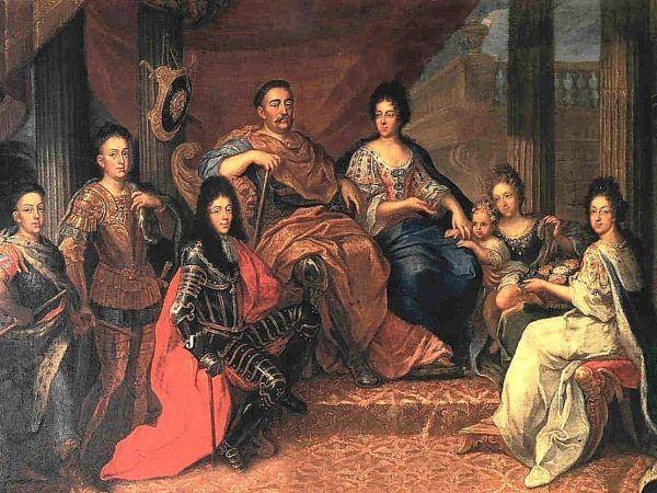 Po wielu trudach Sobiescy kupili za ciężkie pieniądze synową... Na tym obrazie Henri Gascara widzimy ją siedzącą obok Marysieńki.