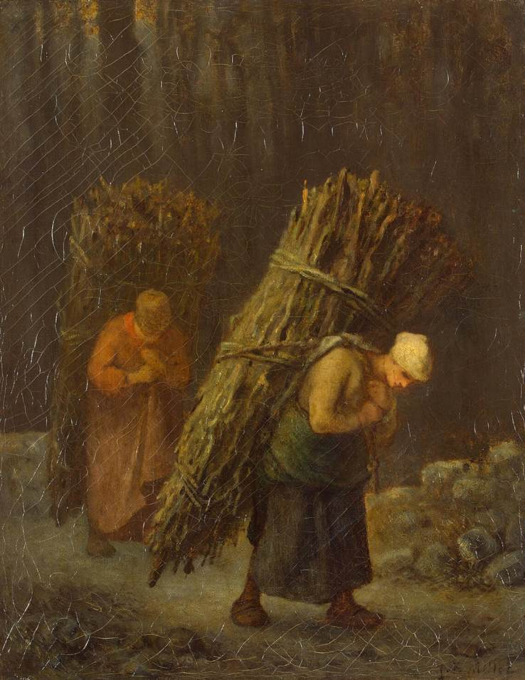 """Życie na wsi wcale nie było sielanką... Na ilustracji obraz J.F. Milleta """"Chłopskie dziewczyny""""."""
