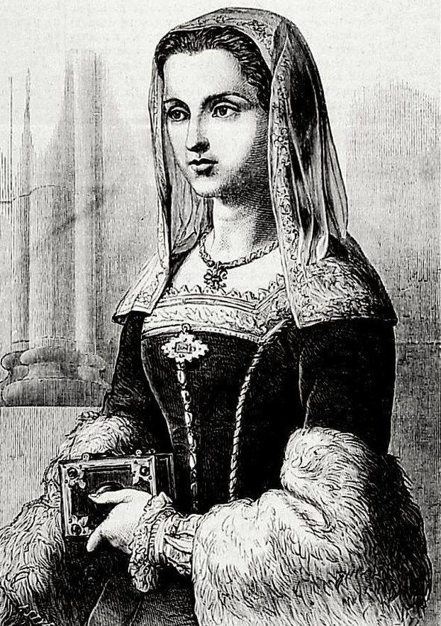 Katarzyna Jagiellonka zabrała Dosieczkę ze sobą na mroźną północ. Polska królewna na rysunku Jana Styfi z 1864 roku.