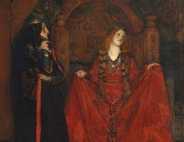 """Fragment obrazu """"Pożegnanie Kordelii"""" autorstwa Edwina Austina Abbey, ilustrującego fragment """"Króla Leara""""."""
