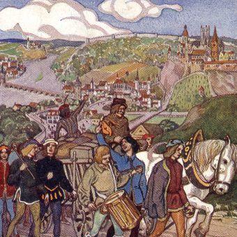 Tak wyglądała Praga w 1409 roku według niemieckiej pocztówki z 1912 roku.