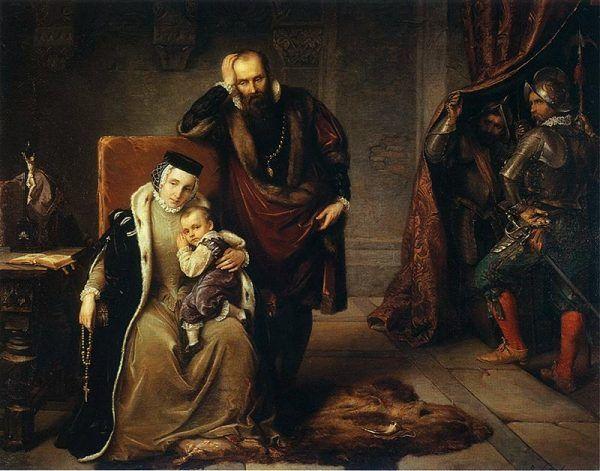 Dosieczka także pomagała w wychowaniu Zygmunta III Wazy na dobrego katolika. Obraz Józefa Simmlera z 1859 roku.