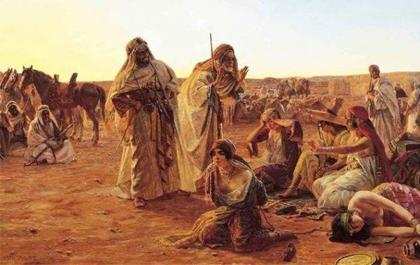 Obraz Otto Pilnego przedstawiający bliskowschodni targ niewolników. To właśnie tam w znacznej mierze trafiali ludzie wzięci w niewolę przez pierwszych Piastów.